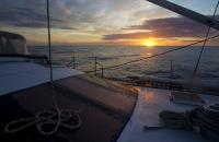 Sunset in Tasmania aboard Helsal IV sailing to Port Arthur