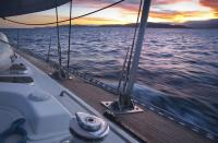 Helsal IV sailing at sunset, Tasmania