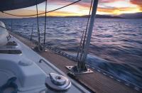 Helsal IV sailing at sunset, Tasmania