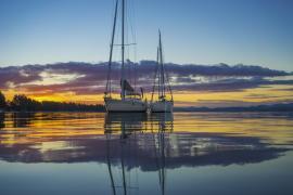 Helsal IV at anchor.  Sunset at Lewisham