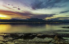Hobart in Twilight from the eastern shore