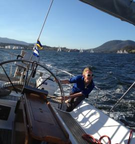 Helsal IV yacht racing on the Derwent River, Hobart Tasmania