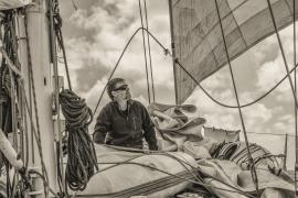 Pete on deck sailing to Port Davey, South West Tasmania