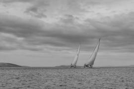 Helsal IV and Magic Miles match-racing on the Derwent River, Hobart