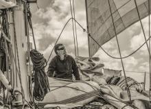 Pete on deck sailing to Port Davey, South West Tasmania